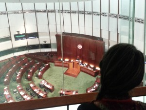 One of the participants watching a Legislative Council session